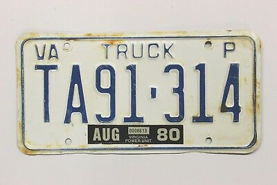 "Virginia Power Unit Truck License Plate ""TA91-314"" - Expired August 1980 - AS IS"