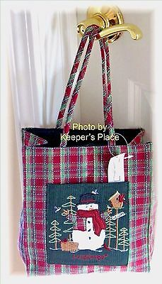 Longaberger Holiday Plaid Tiny Tote Bag SNOWMAN AND FRIENDS Embroidered New Tag