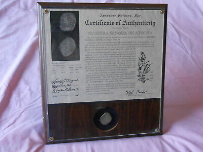 Framed Treasure Coin from the Shipwreck Atocha and Certificate of Authenticity