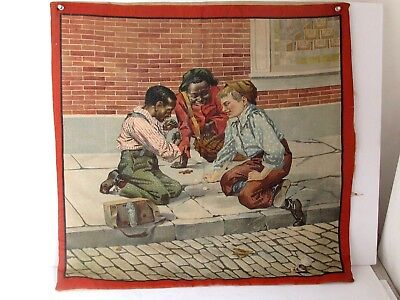 Antique Printed Pillow  Cover 3 Children Playing Dice 1890's Rare Image