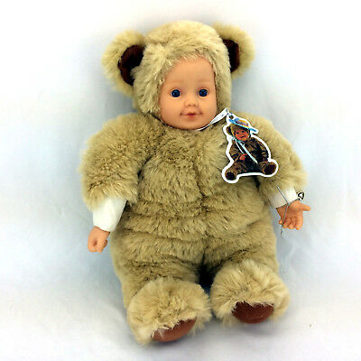 "Anne Geddes Doll Plush Baby In Teddy Bear Costume Plastic Head & Hands 16"" Tall"