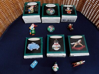 Lot of 6 HALLMARK KEEPSAKE MINIATURE ORNAMENTS Dated 1994-1996 in boxes