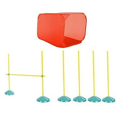 Dog Agility Starter Kit Obstacle Course Training Equipment Tunnel Weave Poles