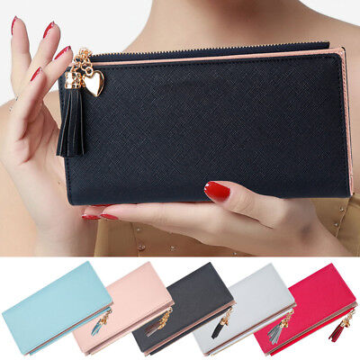 Women Clutch Leather Zipper Wallet Long Card Holder Lady Bag Case Purse Handbag