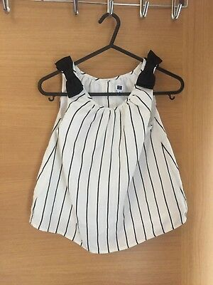 JANIE and JACK White Top with Black Strips and Bows on Shoulder 6 Years Girl EUC