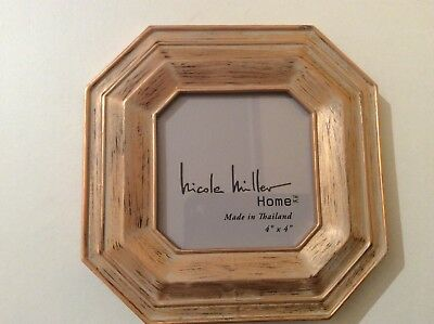 New Nicole Miller Home Wood Rose Gold Shabby Chic Hexagonal Picture
