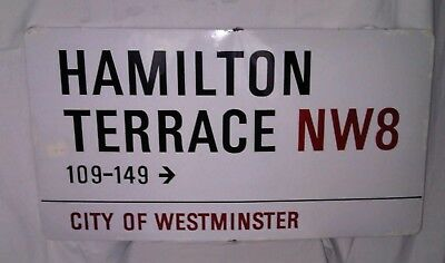 Original London Street Sign - Hamilton Terrace NW8 Post Code - Fair Condition