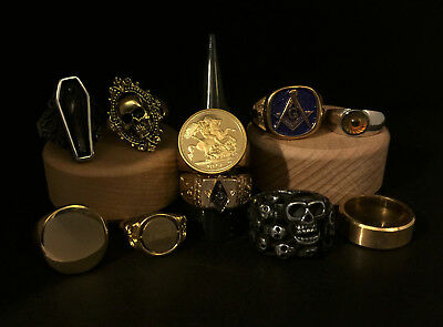 Small Job Lot Mens Rings Sovereign Masonic Coin Club Coffin Signet etc. No Res