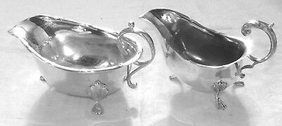 Two Victorian Silver Plated Sauce Boats One super The other with Plate Erosion