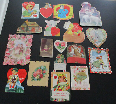 Lot of 18 vintage 1940s 1950s Valentine's Day Greeting Cards New & Used