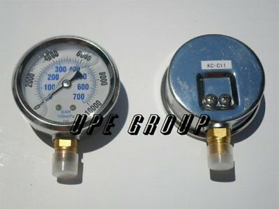 "Liquid Filled 0-10,000 PSI Lower Side Mount Air Pressure Gauge With 2.5"" Face"