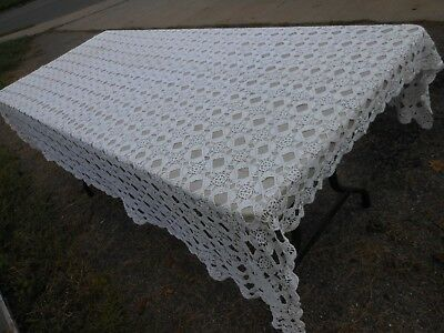 Antique Hand Crocheted Table Cloth Cover White Table Linens