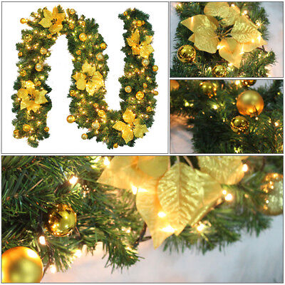 9ft LED Christmas Garland Decorations Xmas Pre-Lit Fireplace Tree Pine Ribbon