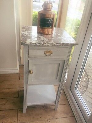 French Vintage Louis XV Style Solid Oak Marble Topped Bedside Table