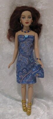Made to fit TINY KITTY COLLIER  #48, Dress, Purse & Jewelry,  Handmade Clothes