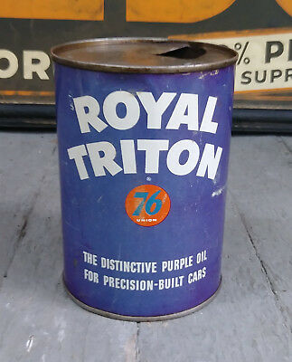 Early Union 76 Royal Triton 1 Quart Tin Litho Motor Oil Can Gas Service Station