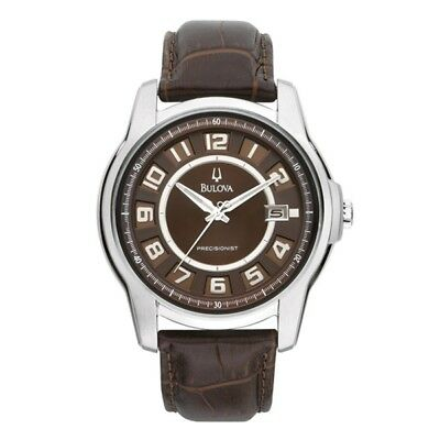 Bulova 96B128 Men's Brown Dial Precisionist Date Brown Leather Band Dress Watch