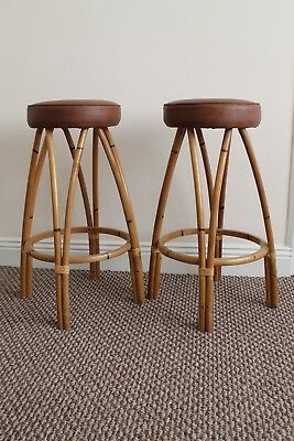 Vintage Pair Of LUSTY CRAFT Lusty & Sons London Rattan Bamboo Tiki Bar Stools.