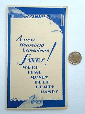 Vintage 1931 CUT-RITE WAXED PAPER Promotional Advertising Brochure * RARE ITEM *