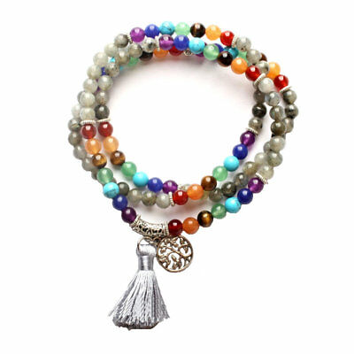 US SELLER 7 Chakra Grounding Cleansing Healing Mala Smoky Quartz ❤ Handmade