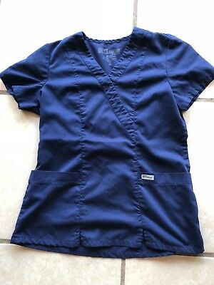 Grey's Anatomy Scrub Top Women's  Pockets Extra Small Navy Blue Used