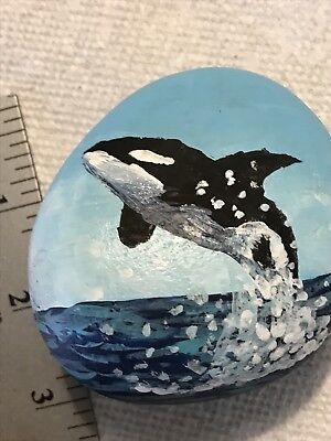 Hand Painted Rocks Orca Orcas Killer Whale Whales Collectible Art Stone Gift
