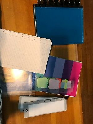 Staples Arc Leather Notebook Junior-sized With Tabs, Extra Paper And Accessories