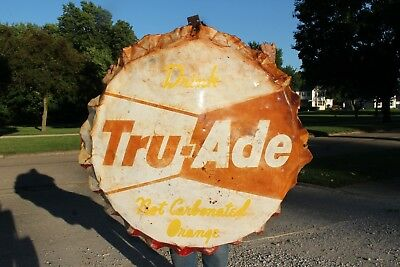 "Rare Large Vintage 1950's Tru Ade Orange Soda Pop Bottle Cap 40"" Metal Sign"