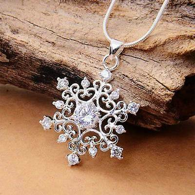 Women Silver Chain Crystal Frozen Snowflake Charm Pendant Necklace Jewelry gift