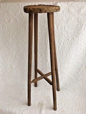 Antique/Vintage Carved Wood Rope Spindle PLANT STAND Round w/Natural Finish Wood