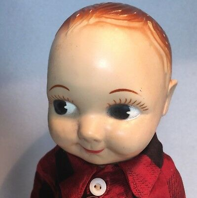 """Buddy Lee Doll with Plaid Shirt  Belt in LEE Jeans Advertising 13"""" tall"""