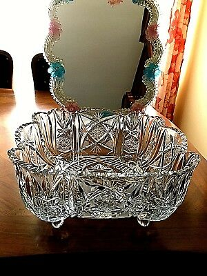 """Bohemian Czech cut Crystal Hobstar  Daisy square 9 3/4"""" x 9 3/4"""" scalloped Foote"""
