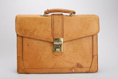 Vintage Tan Top Grain Cowhide Large Leather Briefcase Presto Combination  Lock 534f2add39f97