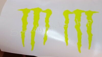 MONSTER ENERGY STICKERS X4 DECALS IN Fluorescent YELLOW