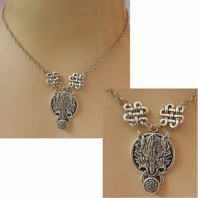 Wolf Necklace Pendant Silver Celtic Jewelry Handmade Chain NEW Fashion Accessory