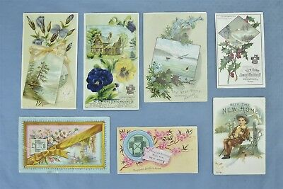 Antique LOT of 7 VICTORIAN TRADE CARDS NEW HOME SEWING MACHINE SKOWHEGAN #05240