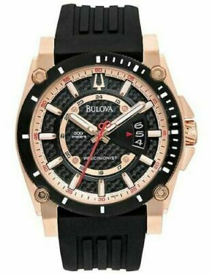 Bulova 98B152 Men's Precisionist Carbon Fiber Black Dial Date Rubber Strap Watch