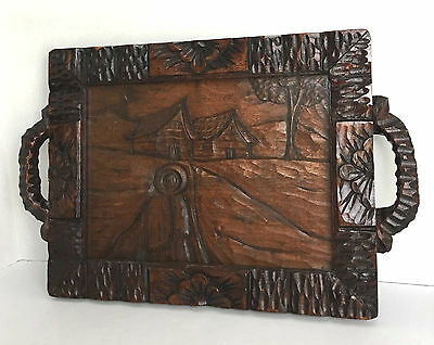 """Vintage Hand Carved 20"""" X 13"""" Wood Tray with Glass Mexican South American"""