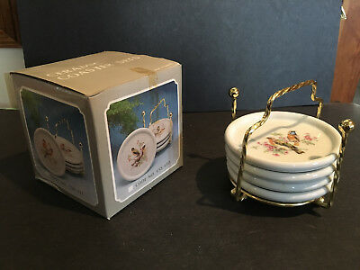 Vintage CERAMIC stacking COASTER SET - Orange & blue BIRDS - Taiwan gold sticker