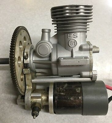 OS FS 61 On Board Remote Starter RC Model Airplane Engine Four Stroke Electric