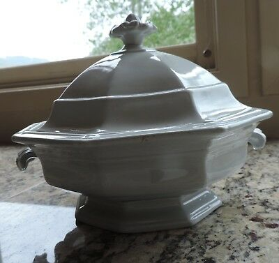 Antique Ironstone Octagon Covered Tureen Dish