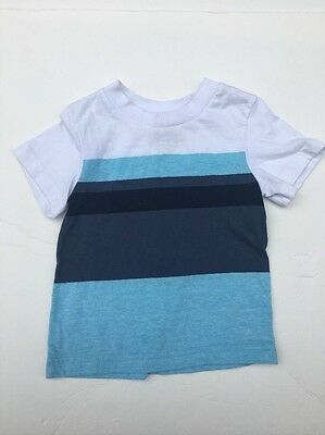 Circo Baby Boys Blue White Striped Short Sleeve Tee Shirt Top Size 12 M Summer