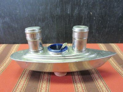 English Silver Plate Salt, Pepper, Condiment bowl, and spoon Ship