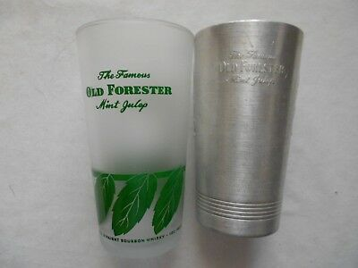 2 Old Forester Mint Julep / Whiskey Glasses - 1 Aluminum and 1 Frosted Glass