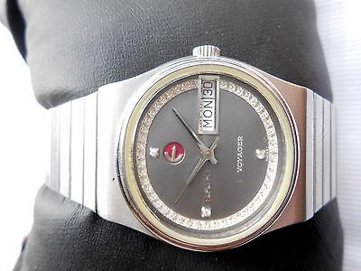 Rare Vintage Swiss 32 mm Gray Oval Dial Rado Voyager Automatic Gents Wrist Watch