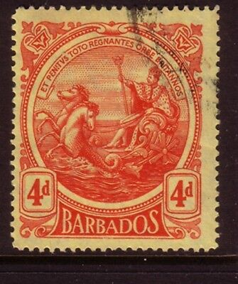 BARBADOS....  1916  4d red on yellow used