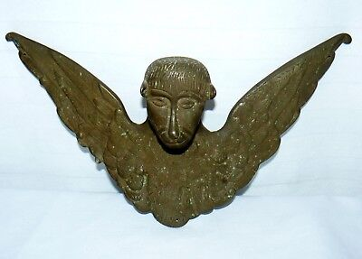 Antique Brass Monkey With Wings Bust Wall Hanging  Decoration
