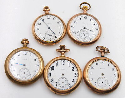 Vintage Lot Of 5 Elgin Open Face Pocket Watches No Reserve