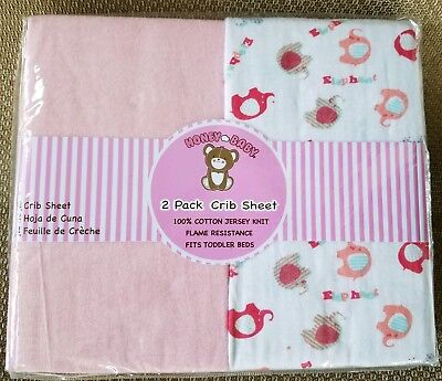 Honey Baby Girls Pink Elephant Crib Sheets Or Toddler Bed 2-Pack 100% Cotton
