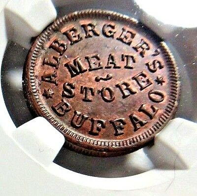 """BUFFALO'S - """" ALBERGER'S MEAT STORE """" - 105B - 1a - NGC MS - 63  -  NO Reserve"""